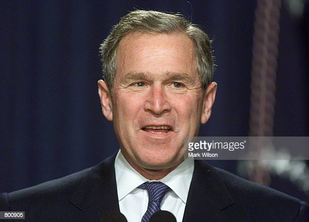 S President George W Bush speaks at the White House April 12 2000 in Washington DC The president spoke about the importance of parental involvement...