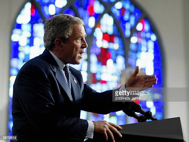 President George W Bush speaks at Union Bethel African Methodist Episcopal Church 15 January 2004 in New Orleans Louisiana Bush later will attend a...