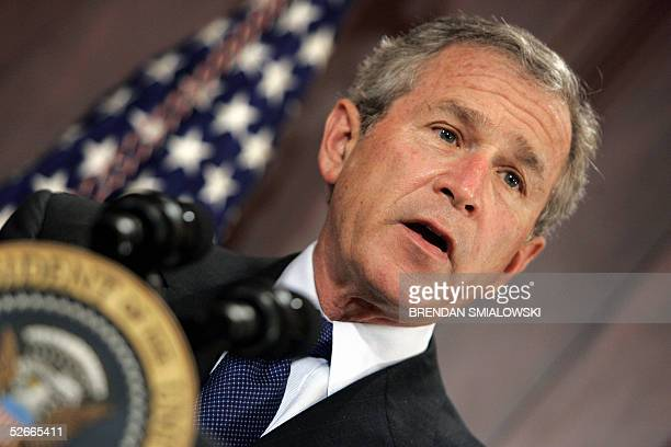 President George W Bush speaks before signing the Bankruptcy Abuse Prevention and Consumer Protection Act of 2005 in the Old Executive Office...