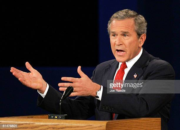 S President George W Bush speaks during a 90minute debate with Democratic presidential candidate John Kerry on the campus of Arizona State University...