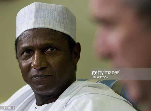 US President George W Bush speaks during a bilateral meeting with Nigerian President Umaru Yar'Adua in the Oval Office of the White House in...
