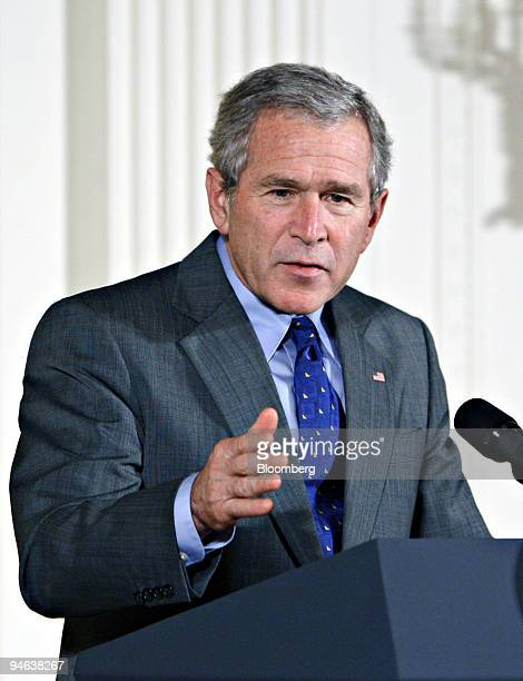 U President George W Bush speaks during a celebration of Hispanic Heritage Month at The White House in Washington DC Friday October 06 2006
