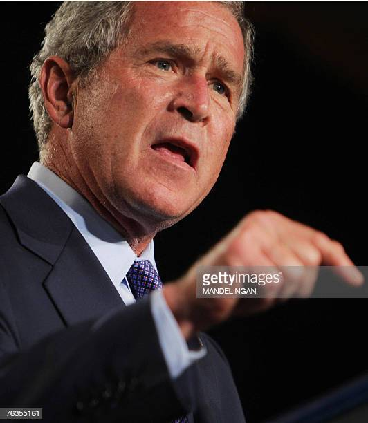 US President George W Bush speaks during a fundraiser for Representative Dave Reichert and the Washington State Republican Party at the Hyatt Regency...