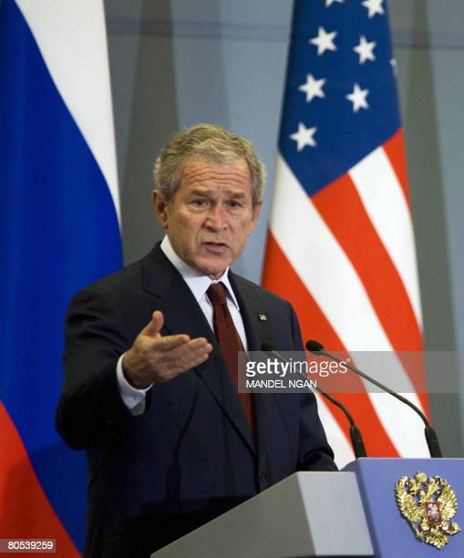 US President George W Bush speaks during a joint press conference with Russian President Vladimir Putin at the State Residence of the President of...
