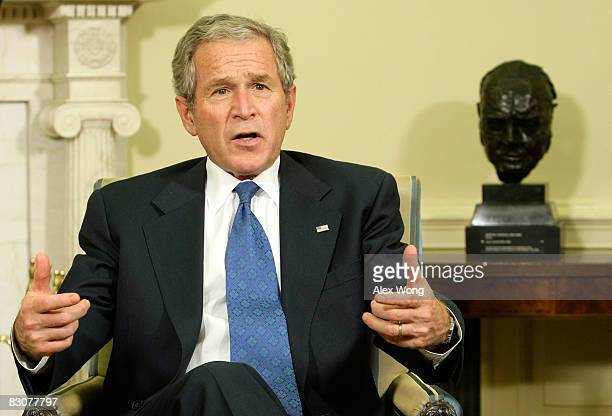 S President George W Bush speaks during a meeting with Gen David McKiernan Commander for NATO International Security Assistance Force in Afghanistan...