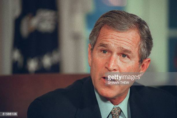 President George W Bush speaks during a meeting with US congressional education leaders 25 January 2001 at the White House in Washington DC Bush...