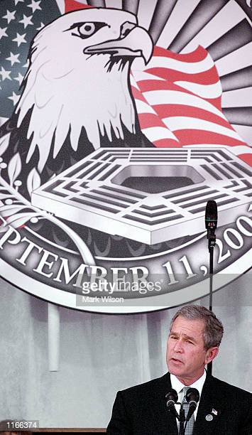 S President George W Bush speaks during a Memorial Service for the victims of the terrorist attacks October 11 2001 at the Pentagon in Arlington VA