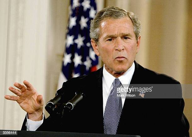 S President George W Bush speaks during a news conference in the East Room April 13 2004 in Washington DC The president openned with a statement on...
