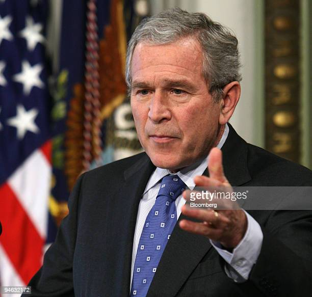 President George W Bush speaks during a news conference in the Indian Treaty Room of the Eisenhower Executive Office Building in Washington DC...
