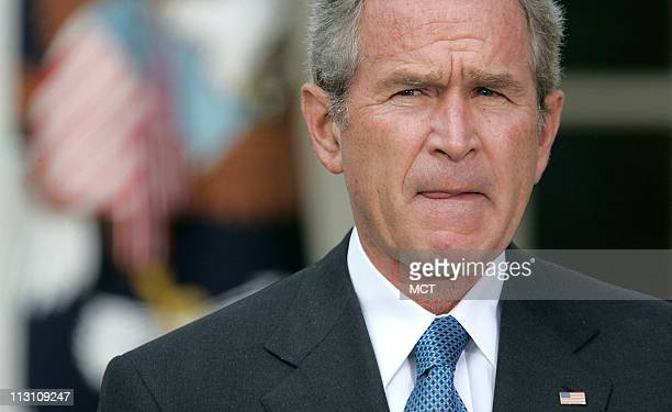 WASHINGTON DC President George W Bush speaks during a news conference with Palestinian President Mahmoud Abbas in the Rose Garden of the White House...