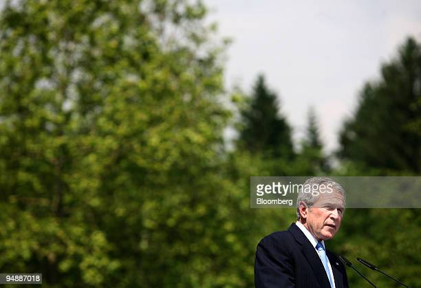 President George W. Bush, speaks during a press conference at the EU-US Summit at Brdo Castle, in Slovenia, on Tuesday, June 10, 2008. Bush won...