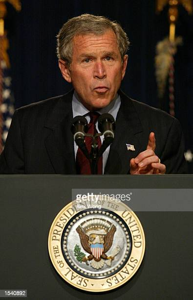 President George W. Bush speaks during a White House event to honor Milton Friedman, recipient of the 1976 Nobel Prize for economic science, May 9,...