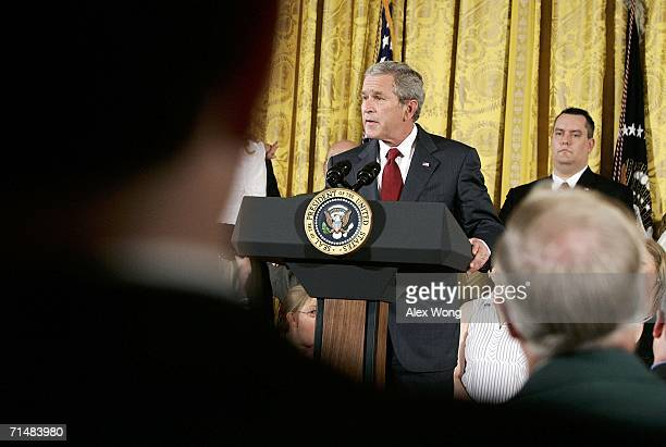 President George W. Bush speaks during an East Room event on stem cell research policy July 19, 2006 at the White House in Washington, DC. President...