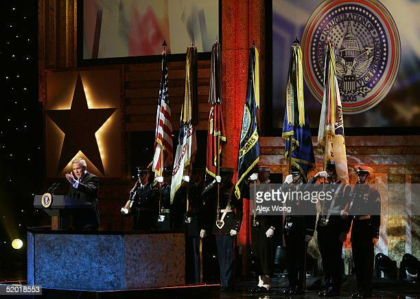 S President George W Bush speaks during the A Salute to Those Who Serve event January 18 2005 at the MCI Center in Washington DC The event is part of...