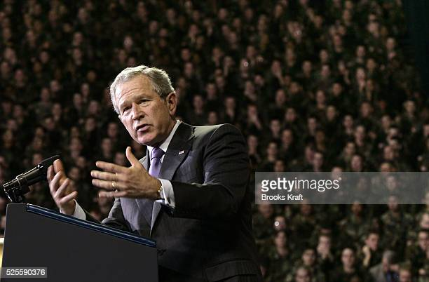 US President George W Bush speaks in front of soldiers who recently returned from Iraq at the Kansas State University in Manhattan Kansas January 23...