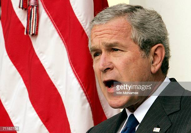 S President George W Bush speaks in the Rose Garden about the death of Abu Musab alZarqawi on June 7 2006 in Washington DC Zarqawi considered the...