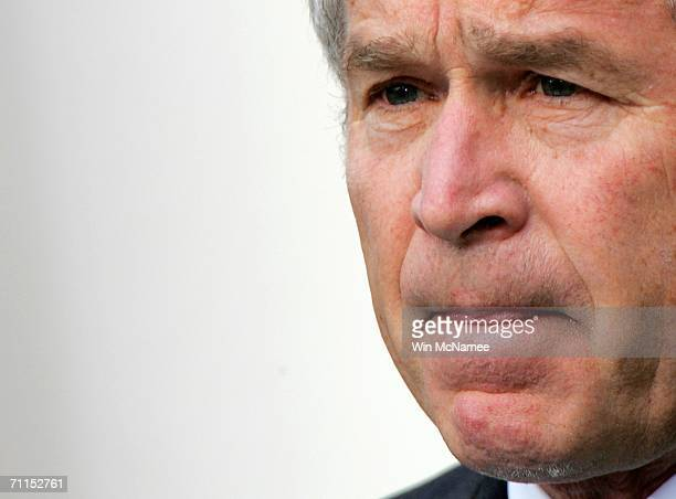 S President George W Bush speaks in the Rose Garden about the death of Abu Musab alZarqawi June 7 2006 in Washington DC Zarqawi considered the...