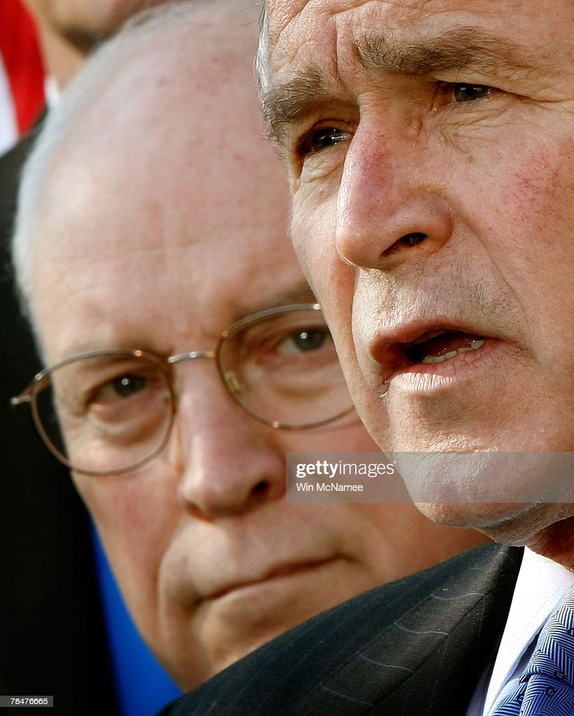 U.S. President George W. Bush speaks in the Rose Garden as U.S. Vice President Dick Cheney (L) looks on at the White House December 14, 2007 in Washington, DC. Bush made brief remarks on the Iraq war funding process as well as answering questions about the baseball steroid report issued yesterday.