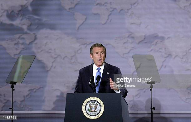 President George W. Bush speaks live to the nation at the Cincinnati Museum Center Monday October 7,2002 in Cincinnati, Ohio. The president sought to...