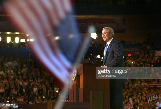 S President George W Bush speaks on the final night of the Republican National Convention September 2 2004 at Madison Square Garden in New York City