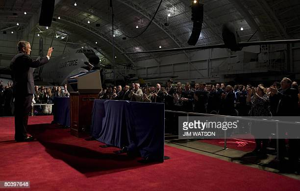 US President George W Bush speaks on the 'Global War on Terror' at the National United States Air Force Museum in Dayton Ohio on March 272008 Bush...
