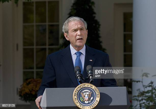 US President George W Bush speaks on the status of the US and global economy in the Rose Garden of the White House in Washington DC on October 10...