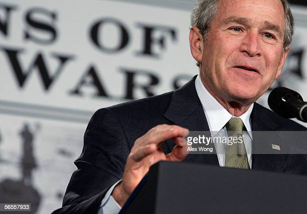 US President George W Bush speaks on the war in Iraq to veterans of foreign wars and wounded soldiers recuperating from action in Afghanistan and...