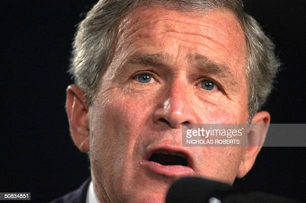President George W. Bush speaks to a gathering of the American Conservative Union at the JW Marriott Hotel in Washington, DC 13 May 2004. Bush spoke...