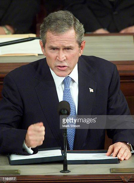 President George W. Bush speaks to a joint session of Congress about the recent terrorist attacks on America at the US Capitol September 20, 2001 in...