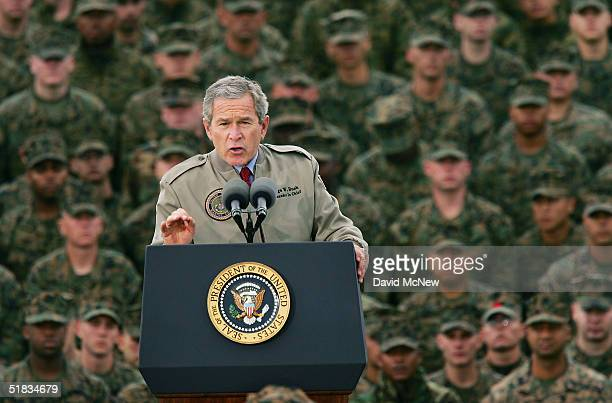 S President George W Bush speaks to Marines on the 63rd anniversary of the Japanese attack on Pearl Harbor December 7 2004 at Camp Pendleton...