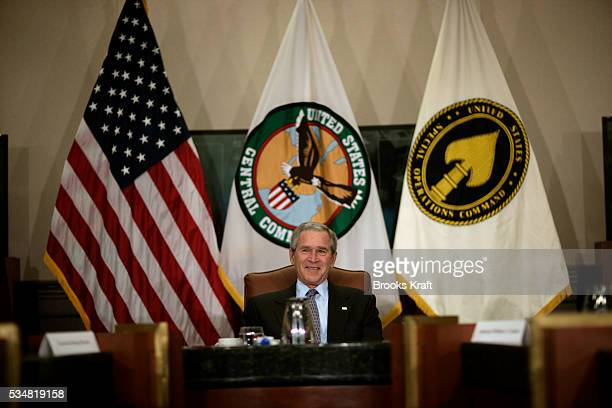 President George W Bush speaks to military leaders from coalition countries supporting the war in Iraq at CENTCOM headquarters at MacDill Air Force...