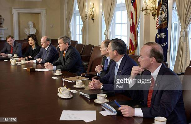 President George W. Bush speaks to reporters about Iraq after a meeting with his National Economic Council February 25, 2003 in the Cabinet Room of...