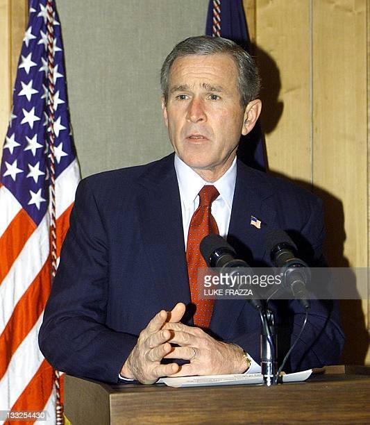 US President George W Bush speaks to reporters at his hotel in Beijing China 22 February 2002 about learning about the death of kidnappd Wall Street...