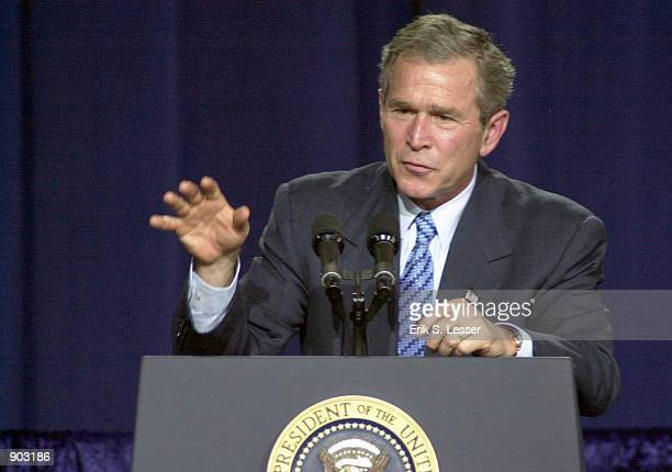 S President George W Bush speaks to students and teachers at Booker T Washington High School January 31 2002 in Atlanta GA President Bush encouraged...