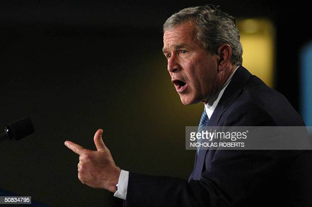 President George W. Bush speaks to the American Conservative Union at the JW Marriott Hotel in Washington, DC 13 May 2004. Bush spoke about taxes,...