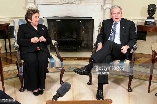 US President George W Bush speaks to the media as former Secretary of Health and Human Services Donna Shalala looks on after their meeting in the...