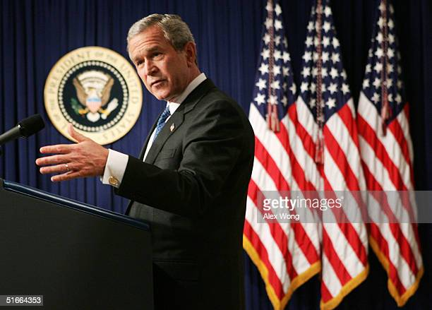 S President George W Bush speaks to the media during a news conference at the White House November 4 2004 in Washington DC This was Bush's first news...