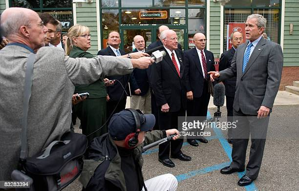 US President George W Bush speaks to the media regarding the health of US Vice President Dick Cheney after having lunch with local business leaders...