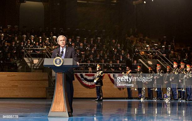 S President George W Bush speaks to the Military Appreciation Parade at Fort Myer in Arlington Virginia US on Tuesday Jan 6 2009 Bush was awarded the...