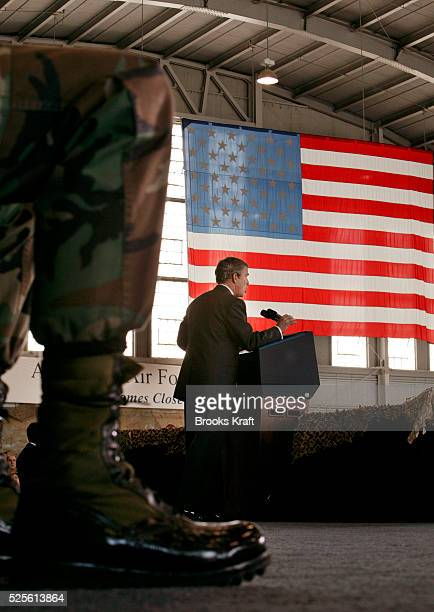 President George W Bush speaks to the military community at McDill Air Force Base home of the United States Central Command about the war in Iraq