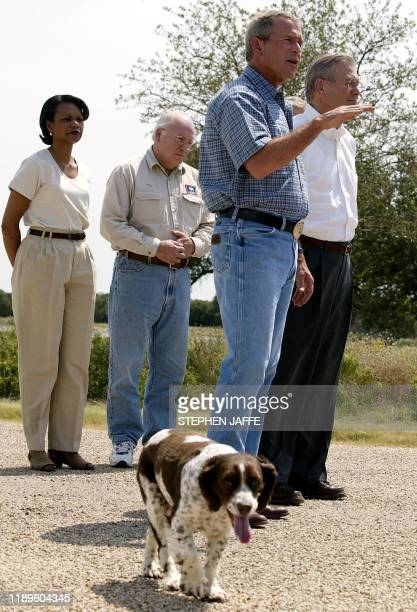 US President George W Bush speaks to the press at his Crawford Texas ranch 08 August 2003 The US has been able to make a great deal of progress in...