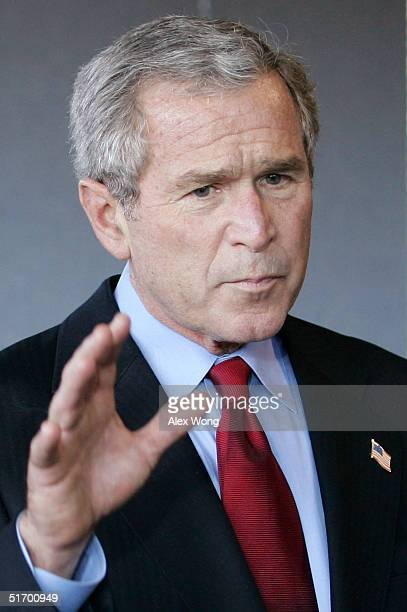 S President George W Bush speaks to the press November 9 2004 at Walter Reed Army Medical Center in Washington DC Bush paid a visit to soldiers who...