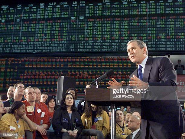 President George W Bush speaks to traders on the floor of the Chicago Mercantile Exchange 06 March 2001 Bush spoke on his proposed tax cut plan AFP...