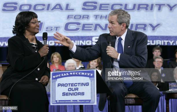 President George W. Bush speaks with Helen Lyons, who collects Social Security, during a conversation on strengthening Social Security at the...