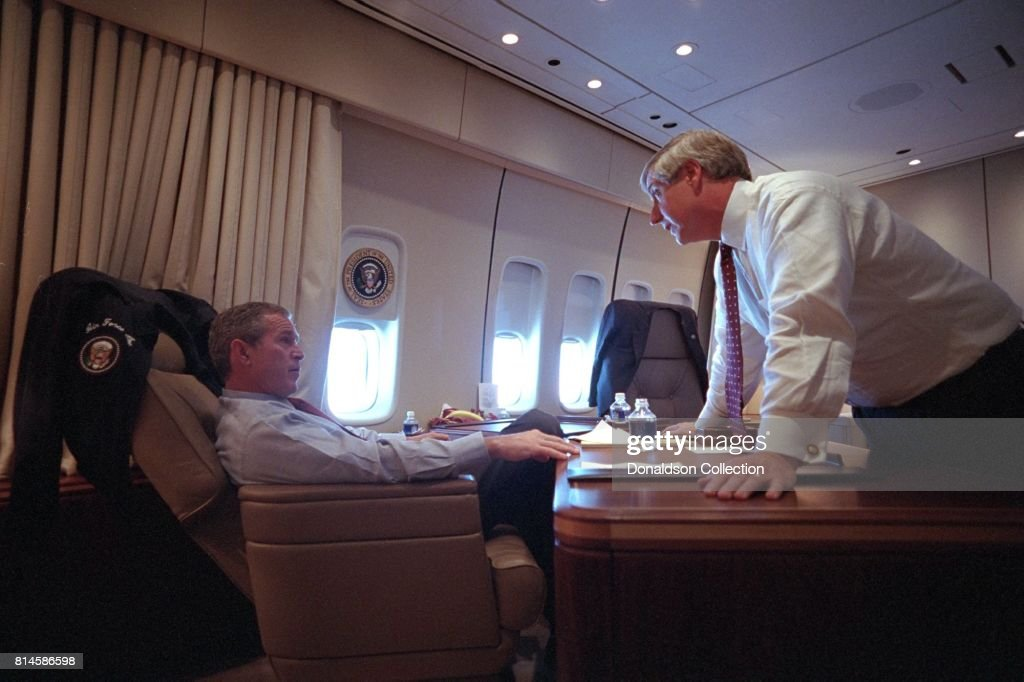 President George W. Bush speaks with White House Chief of Staff Andy Card Tuesday, Sept. 11, 2001, aboard Air Force One. Photo by Eric Draper, Courtesy of the George W. Bush Presidential Library/Getty Images