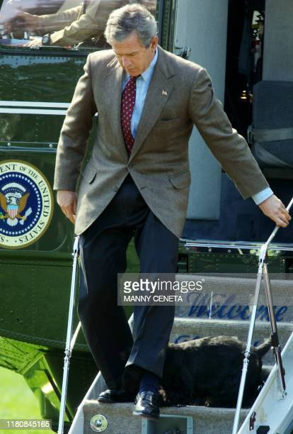 US President George W Bush steps over his dog Barney while disembarking from Marine One on the South Lawn of the White House 06 April 2003 in...