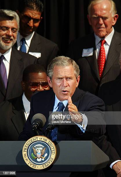 S President George W Bush talks about education at the Bowers Museum of Cultural Arts on August 23 2002 in Santa Ana California Bush was on a daylong...