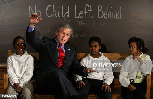 President George W Bush talks to fourth graders at Pierre Laclede Elementary school in St Louis Missouri Bush paid a visit to the school to talk...