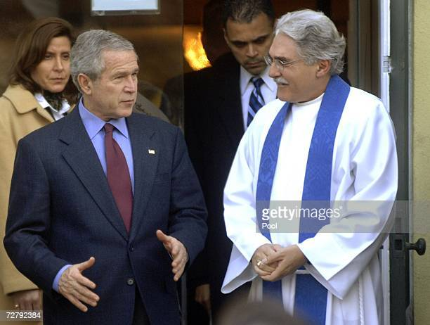 S President George W Bush talks to Rev Louis Leon after attending a Sunday morning service at St John's Episcopal Church December 10 2006 in...