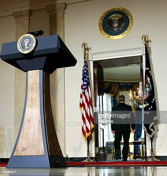 S President George W Bush walks away from the podium after his remarks to the media January 30 2005 at the White House in Washington DC Bush made a...